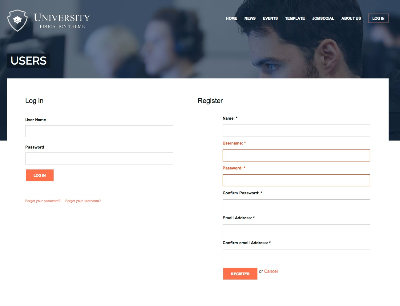 Login or register page